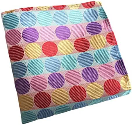 MENDENG Men's Rainbow Pink Polka Dot Wedding Party Hanky Formal Handkerchief