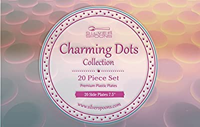 Charming Dots Collection White with Silver Dotted Disposable Round Plate Dinnerware- Heavyweight Plastic Plates