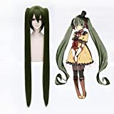 Coolsky 11.8'' Have Two 43'' Bunches Long Olive Green Soft VOCALOID Party Costume Hair Wig