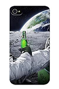 New Arrival Cover Case With Nice Design For Iphone 4/4s- Beers Outer Space Earth Astronauts Relaxing Carlsberg Moon Landing