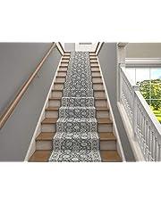 25' Stair Runner Rugs - Luxury Kashan Collection Stair Carpet Runners (Grey)