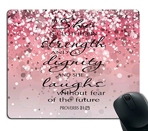 Smooffly Proverbs 31:25 Mouse Pad,Bible Verse Pink Sparkles Glitter Pattern Mouse Pad