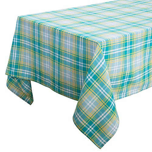 - S-DEAL Buffalo Plaid Tablecloth Checked Table Cover Square 53x53 Inches Casual Gingham Cotton for Indoors Outdoors Party Decor Family Dinners Decor Gatherings Picnic Blanket Green and Yellow