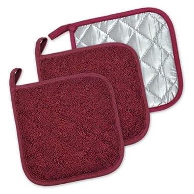 DII 100% Cotton, Machine Washable, Heat Resistant, Everyday Kitchen Basic, Terry Pot Holder, 7 x 7 , Set of 3, Wine