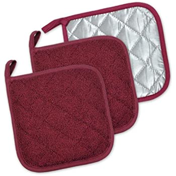 DII 100% Cotton, Terry Pot Holder Set Machine Washable, Heat Resistant, 7 x 7, Wine, 3 Piece