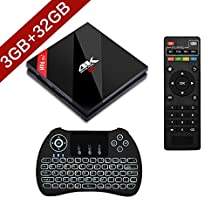 AMZSEA H96 Pro 2017 NEWEST 3GB+32GB ANDROID 4K TV BOX Android 7.1 Marshmallow Amlogic S912 64 bit Octa-core with Dual-band WIFI 2.4GHz/5.0GHz 1000M LAN With Wireless Keyboard