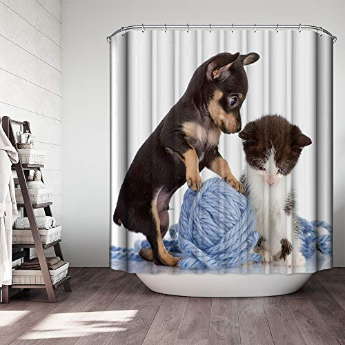 "(Ezlif Cute Puppy and Kitten Shower Curtain, Little Dog and Cat Play Together, 70"" x 70"" Polyester Fabric Waterproof Bathroom Shower Curtains Liner with 12 Rust Proof Hooks)"