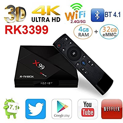 R-TV Box X99 Android Network Set-top TV Box RK3399 4GB RAM 32GB ROM 6 Cores 64-Bit Android 7.1 USB 3.0 BT 4.1 Dual WiFi Type-C Port 4K FHD UHD Smart Streaming Media Player