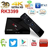 NEW Android 7.1 X99 ROCKCHIP 3399 4GB/32GB 6 Cores 64-Bit USB 3.0 BT 4.1 Dual Wifi Type-C Port 4K FHD UHD TV Box Smart Streaming Media Player