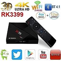 NEW Android 7.1 X99 ROCKCHIP 3399 4GB/32GB 6 Cores 64-Bit USB 3.0 BT 4.1 Dual Wifi Type-C Port 4K FHD UHD TV Box Smart Streaming Media Player