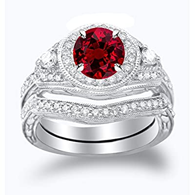 Three Stone Vintage With Milgrain & Filigree Bridal Set with Wedding Band & Diamond Engagement Ring with a 0.5 Carat Ruby Heirloom Quality Center supplier
