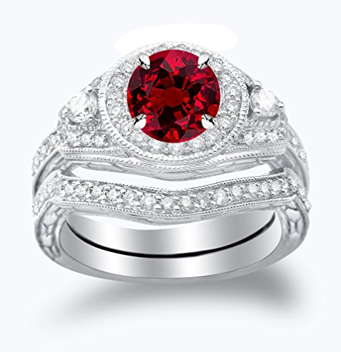 Platinum Three Stone Vintage With Milgrain & Filigree Bridal Set with Wedding Band & Diamond Engagement Ring with a 0.5 Carat Ruby Heirloom Quality -