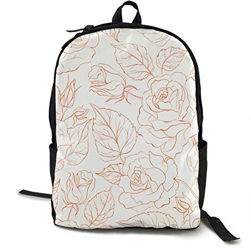 Price comparison product image DKFDS Backpacks Rose Seamless Unisex Classic Lightweight Laptop School Leisure Backpack Water Resistant Travel Bag