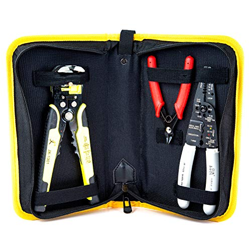 Wire Stripper Crimping Tool Kit, 8 Inch Self-Adjusting Wire Stripper, Automatic Wire Stripping Tool with Multi-Tool Wire Cutter and Wire Cutter, Cutting Pliers Tool with Storage Bag (Best Automatic Wire Stripping Tool)
