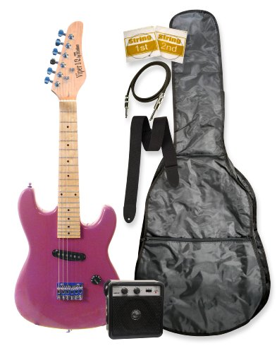 32″ Junior Kids Mini 1/2 Size Electric Starter Guitar and Amplifier Pack with Free Gig Bag and Accessories Metallic Purple & DirectlyCheap(TM) Translucent Blue Medium Guitar Pick