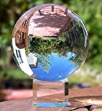 H&D Crystal Meditation Ball Globe 100 Mm,sapphire blue and clear, Free Stand (clear)