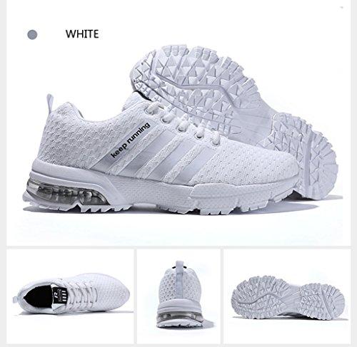 PAMRAY Laufschuhe Damen Herren Air Cushion Fitness Trekking Sneaker Atmungsaktive Mesh Schnür Turnschuhe 36-46 Schwarz Blau Rot Weiss Weiß