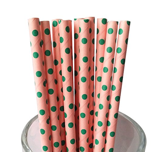 Dot Swiss Green - Free DHL 500 pcs Green Swiss Dot Pink Paper Straws Bulk, Green and Pink Small Polka Dot Paper Drinking Straws for Holiday Party, Wedding, Birthday, Valentine Mason Jar Straws