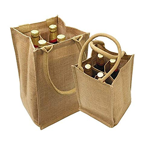 Four Jute - Wine Bag Store, Jute Burlap Four Bottle Wine Gift Tote Bags, Size 8