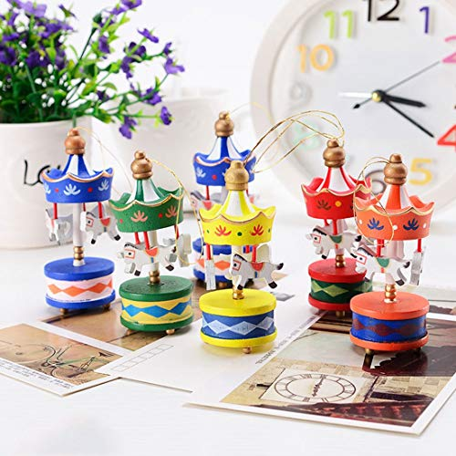 Pendant R - Merry Christmas Wood Carousel Horse Ornaments Mini Beautiful Wooden Xmas Children Gift Toys Year - Shades Light Ring Connector Mold Resin Only Gold Rope Pendant Shade Glass H