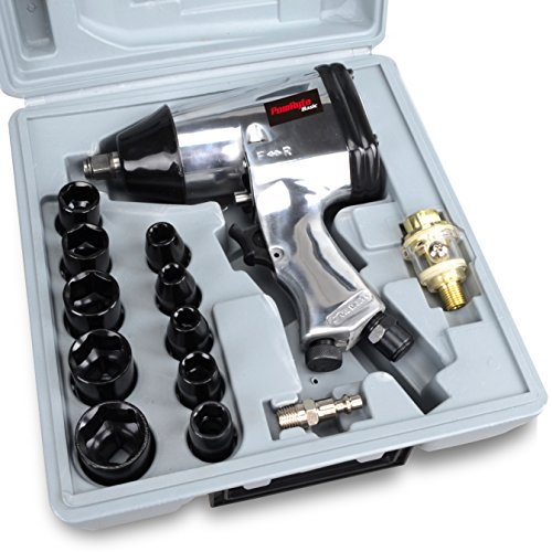 PowRyte 17pcs 1/2-Inch Air Impact Wrench Set with Impact Sockets and Blow Mold Case by PowRyte
