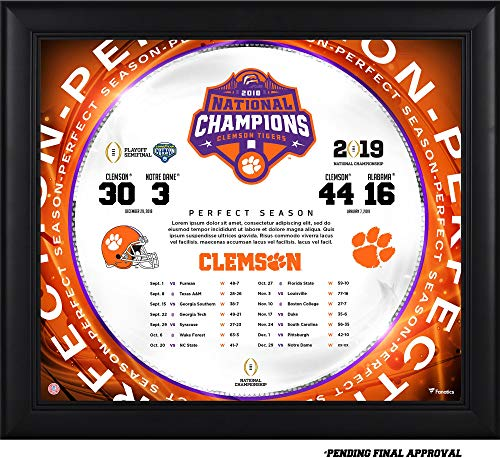 - Clemson Tigers College Football Playoff 2018 National Champions Framed 15