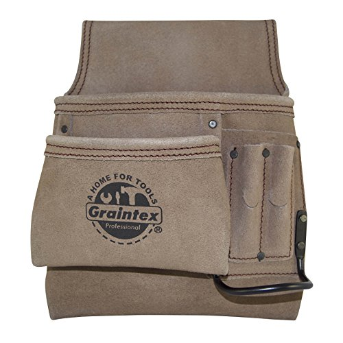 (Graintex SS2292 5 Pocket Left Handed Nail & Tool Pouch Suede Leather)