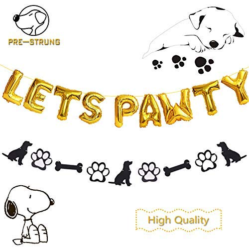 Dog Birthday Party Decorations -Lets Pawty Letters Balloons -Glitter Pet Birthday Paw Bannes for Pet Dog Puppy Special Day Party Decorations Supplies