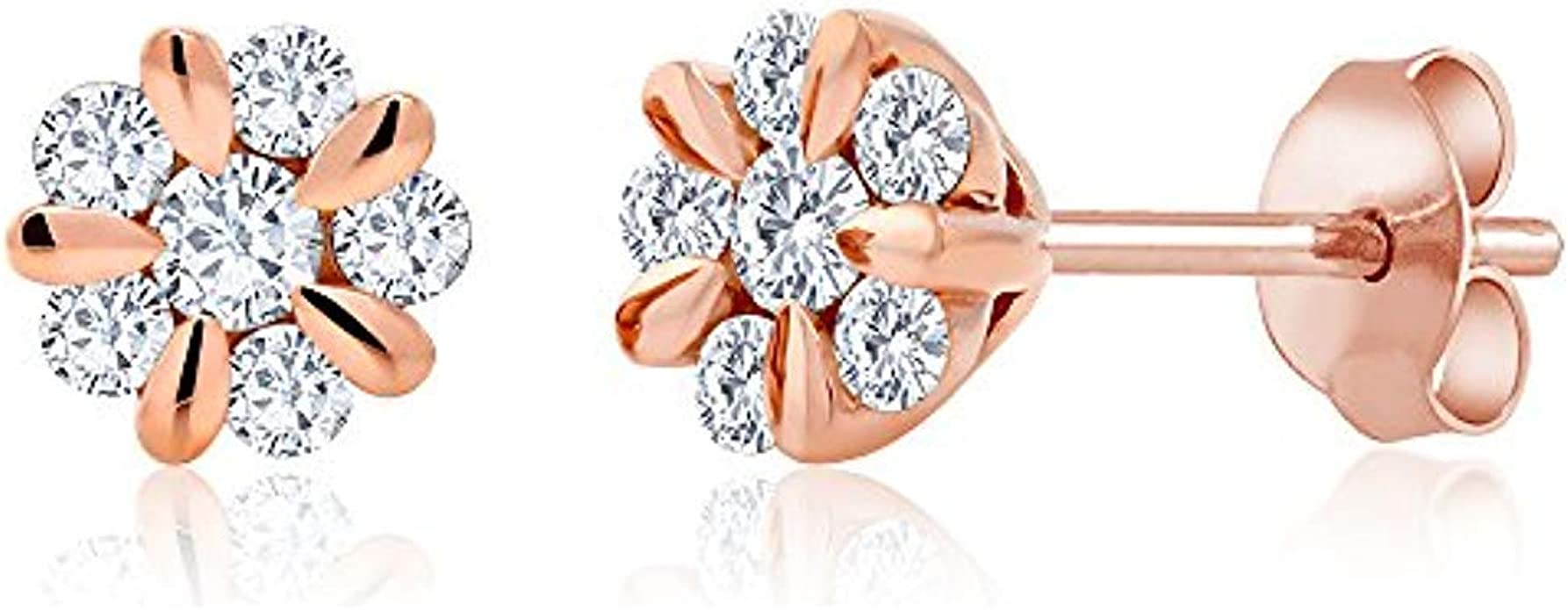 Fashion Elegant Gold Silver Rose Circle Crystal Stud Charm Earrings Jewelr Smtp