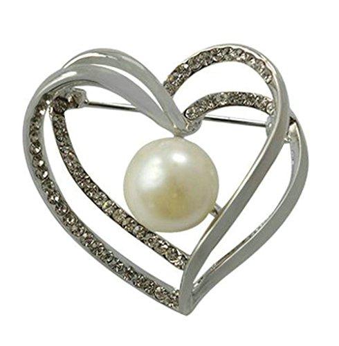 Lever High Neck (Gnzoe Jewelry, Womens Brooch Rhinestone Heart Shape Bridal Wedding Brooch Pins Bride For Wedding Silver White)