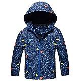 2018 Winter Boys Fleece Hooded Jacket Lightweight Warm Casual Coat - Dark blue M