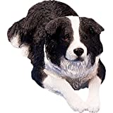 Sandicast Original Size Black and White Border Collie Sculpture, Lying For Sale