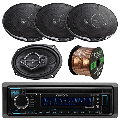 "Kenwood KDC-BT31 Single DIN Bluetooth In-Dash CD/AM/FM Car Stereo Receiver Bundle Combo With 4x KFC6995PS 6x9"" 1300-Watt 5-Way Audio Speakers + Enrock 50 Foot Speaker Wire -  Enrock Kenwood, KDCBT32 KFC6995PS"
