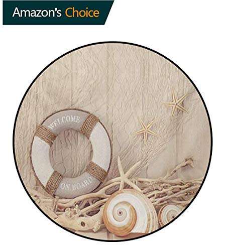 (RUGSMAT Coastal Round Area Rug,Welcome On Board Life Buoy Wooden Sepia Fishnet Holiday Maritime Theme Print Living Dinning Room & Bedroom Rugs,Diameter-35 Inch Tan Beige White)
