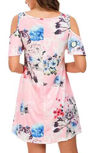 Pockets Swing Shoulder Shirt 04 floral Tunic Women's Print Dress QIXING T Top Pink Summer with Loose Cold Yt7Fp8