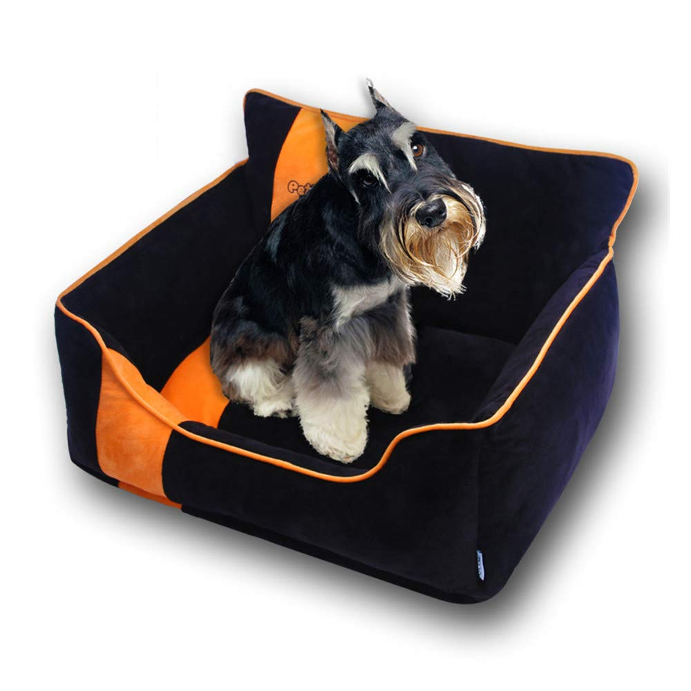 Black SmallBABYS'q Pet Rectangular Bed,Sofa For Dogs Cats,Detachable Washing Warm Kennel For Winter,Black,S