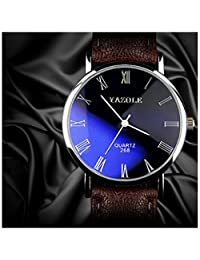 Fashion Quartz Analog Mens Watch Roman Numeral Scale Business Casual Wristwatch Black Dial Brown Band