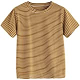 MakeMeChic Women's Casual Loose Striped Short Sleeve T-shirt Tee Top Brown M