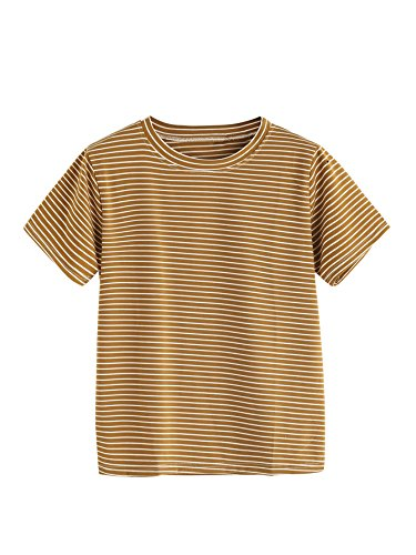 (MakeMeChic Women's Casual Loose Striped Short Sleeve T-shirt Tee Top Brown M)
