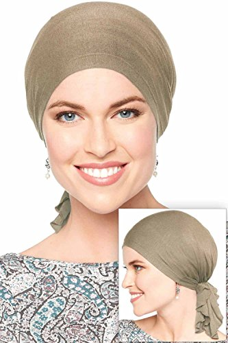 Slip-On Solid Slinky Pre Tied Head Scarf - Scarves for Women with Chemo Luxury Bamboo - French Beige -