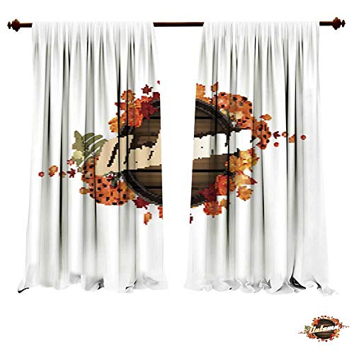 DragonBuildingMaterials Blackout Room Darkening Curtains Wooden Autumn Label Design with Acorn Leaves and Rowan Berries Art Pictures Prints Fashion Style