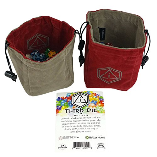 Leather Bag Dice (Third Die Dice Bag - Handcrafted And Reversible Drawstring Bag That Stands Open On The Table - Crimson and Dark Gray)