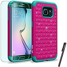 Samsung Galaxy S6 Edge / G925 Case, ToPerk (TM) Luxury Spot Diamond Dual Layer Armor Case + Free HD Screen Protector & Stylus Pen As Bundle Sale - Hot Pink