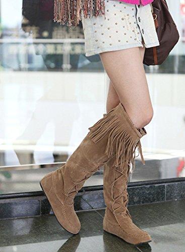 Maybest Femmes Automne Hiver Élégant Longues Bottes Casual Talon Plat Genou Bottes Gland Lacets Bottes Jaune
