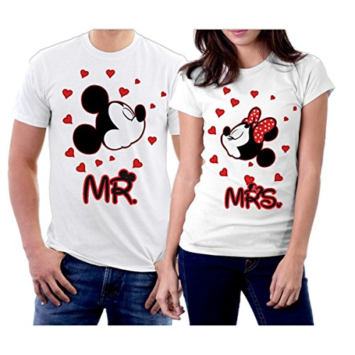 picontshirt MR and MRS Mickey Couple T-Shirts Men L/Women L White (Mr And Mrs Mickey Mouse T Shirts)