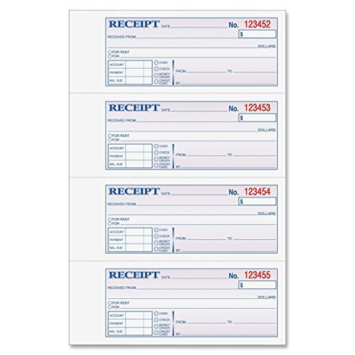 Adams Money and Rent Receipt, 7.63 x 11 Inches, 2-Parts, Carbonless, 4 per Page, 200 Sets, White and Canary, Pack Of 2