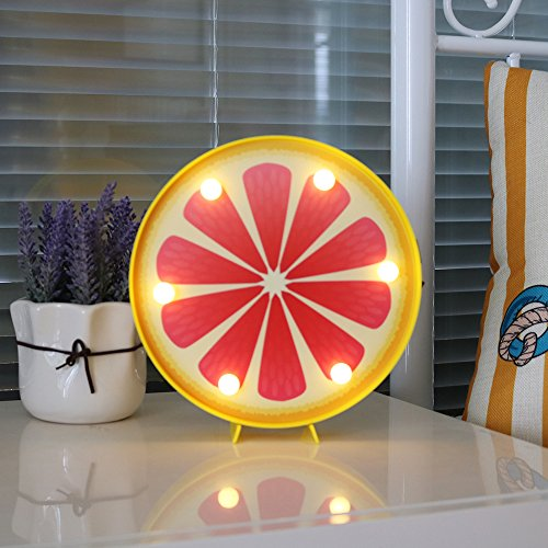 DELICORE Grapefruit Slice Led Marquee Light Sign Decorative Fruit Night Lamp Table Light Home Kitchen Cabinet Decor Holiday Party Supply Best Gift Choice For Kids (grapefruit) by DELICORE