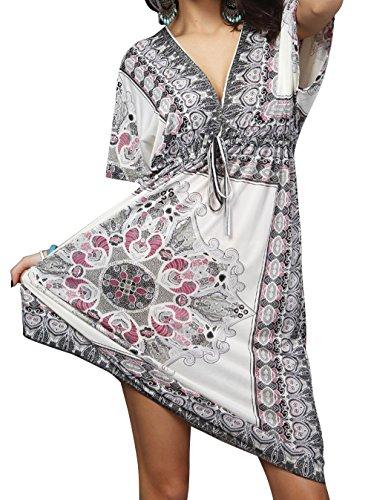 Vestidos de Verano Mujer Tallas Grandes Ropa Boho Chic Estampado Floral Étnico Vestido de Playa Fiesta Casual Profundo V Beach Cover Up - Landove Blanc