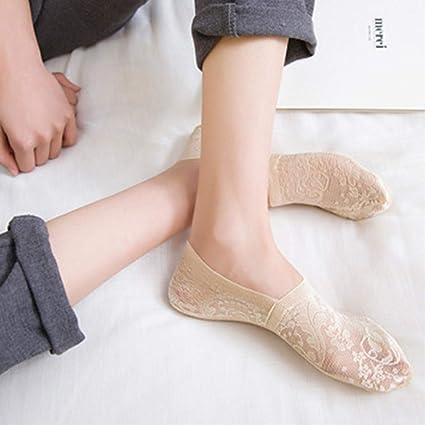 Asockgs 5 par Moda Mujeres niñas Flor de Encaje Verano Estilo calcetín Corto Antideslizante Calcetines Invisibles