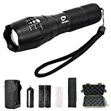 Diateklity Bright LED Flashlight Kit CREE XML T6 - 1000 Lumen,5 Modes, Water Resistant & Zoomable Focus Design with Rechargeable Battery